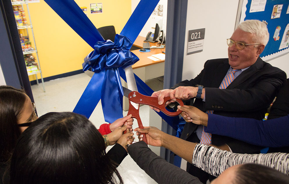 Ribbon cutting to open the new student food pantry.