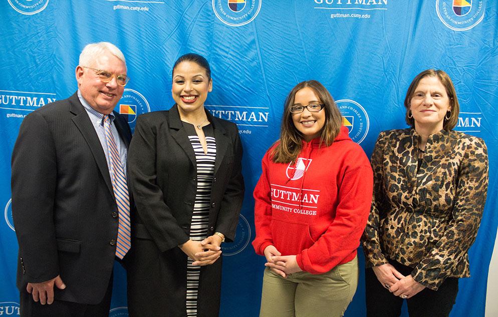 (L to R): Scott E. Evenbeck; first-year students Suzanne Herrera and Nicole Gutierrez; and Joan M. Lucariello.