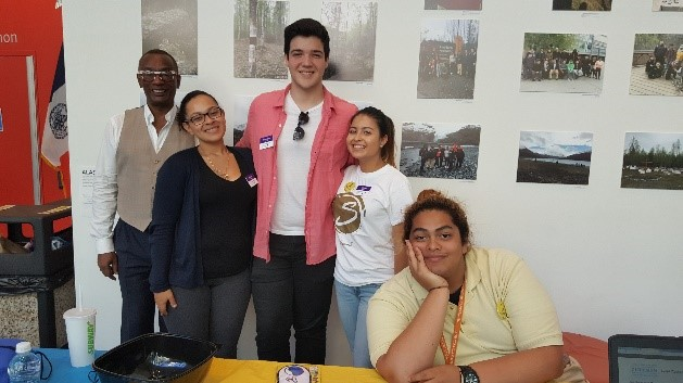 Team AccessABILITY and Peer Mentoring helped to engage students. L-R Sylvester Allen, Britney Peguero, Francesco Musio, Kateryn Mejia, and Stephen Icaza.