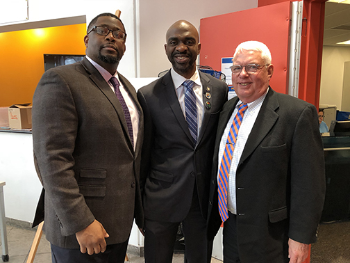 Charles Pryor, Assemblyman Michael Blake, and Presiden Scott E. Evenbeckt