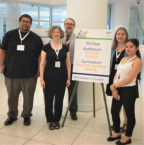 Students Thomas Jones, Professors Marla A. Sole and Rodrigo Lobo, Career Strategist Diana Zechowski, and student Angie Cordoba at the NYCDOE School Technology Summit.