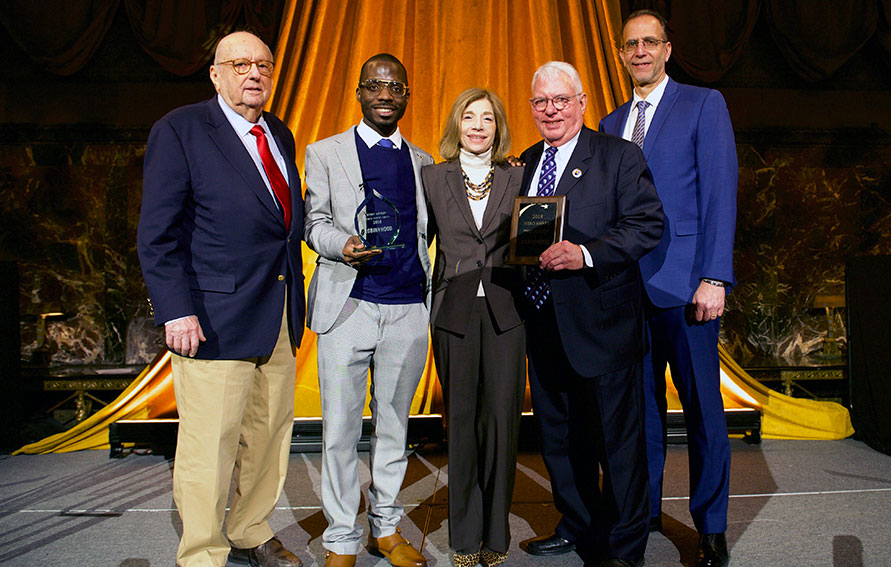 Ernest Rubenstein, former President of Guttman Foundation, Bobby Ashley, Vita C. Rabinowitz, CUNY Chancellor, Scott E. Evenbeck, Guttman Community College President, and Howard M. Wach, Guttman Provost