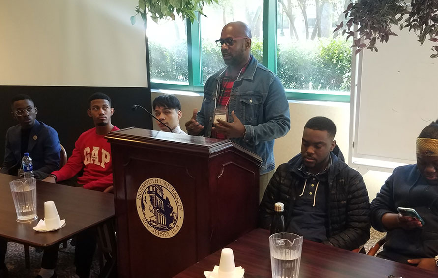 """Dr. Allen and Guttman students presenting at the """" Black Male Initiative (BMI), Cultural production and Social Memory"""" roundtable"""