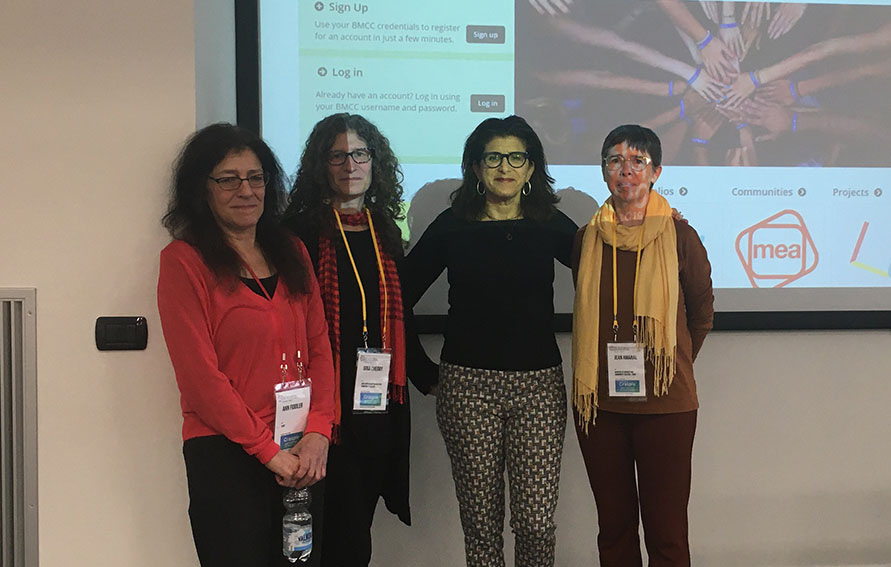 Amy Beth (3rd from L) and CUNY colleagues at the OE Conference in Milan, Italy