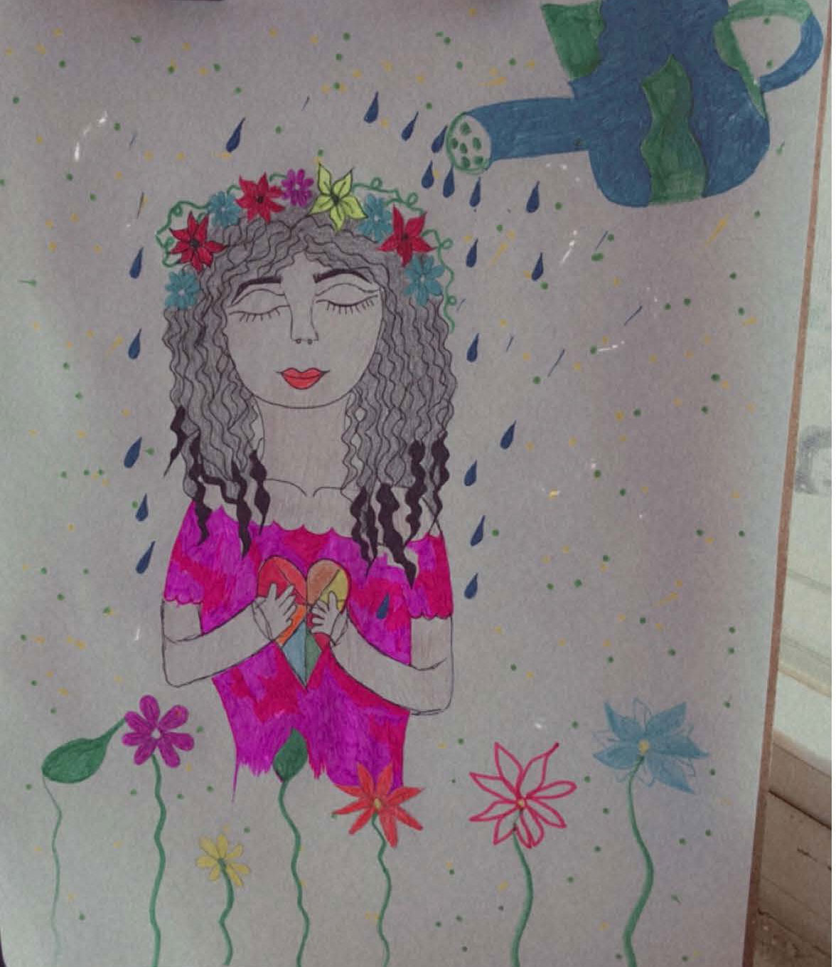 Drawing of a woman holding a colorful heart, wearing a flower crown, and having water poured over her from a watering can painted to resemble Earth
