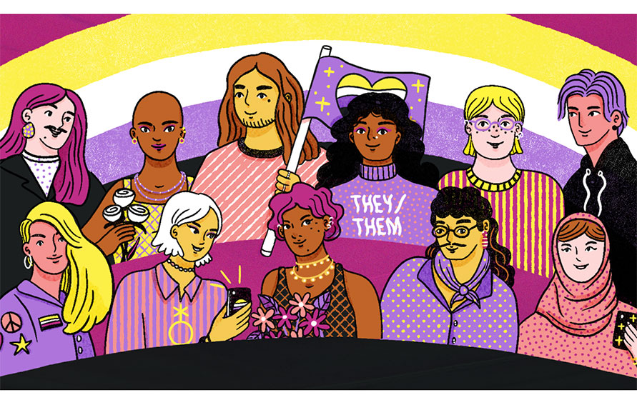drawing of a group of LGBTQ+ people