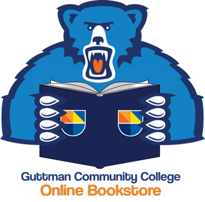 Guttman Online Bookstore logo featuring Stella the bear holding a book