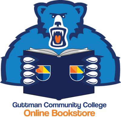 Guttman Online Bookstore logo featuring Stella the bear holding a book