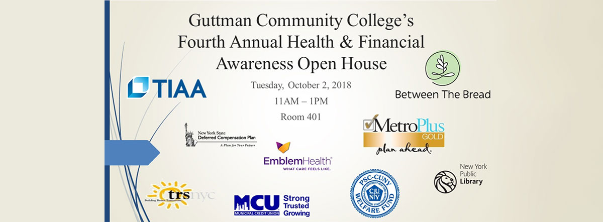 GCC's Fourth Annual Health & Financial Awareness Open House, October 2, 11 am to 1 pm, room 401