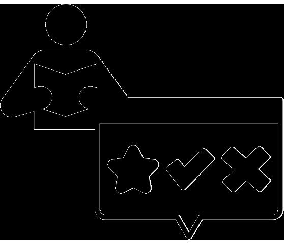 Icon representing a person giving a survey