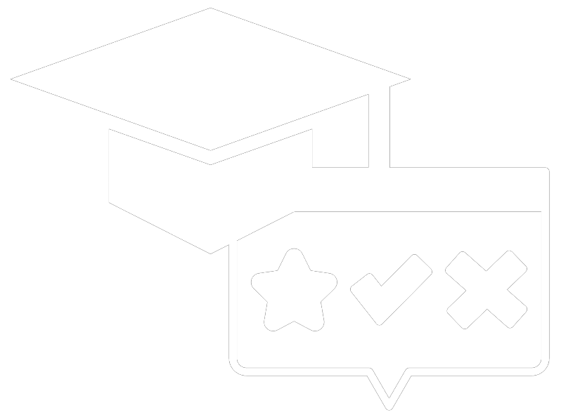 Icon showing a graduation cap and a text bubble featuring a star, check mark, and an x