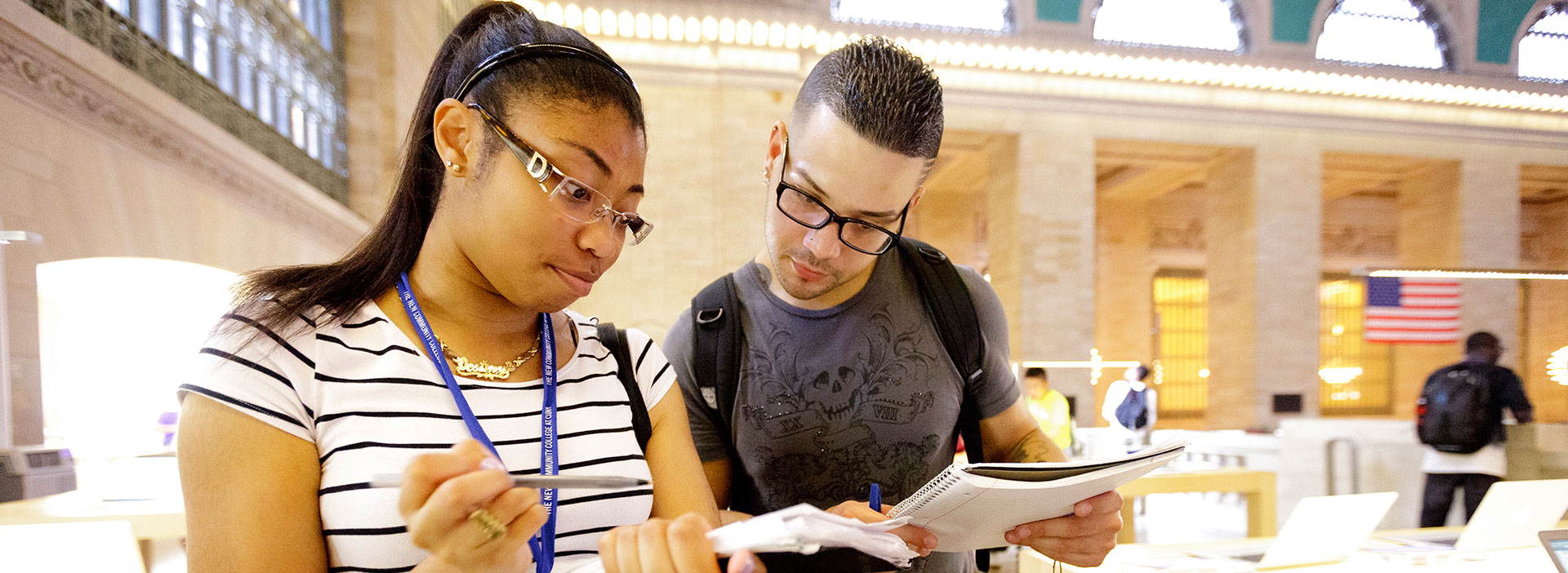 Two Summer Bridge students collaborating on an assignment in Grand Central Terminal
