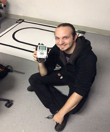 Charles Gutwirth-Avramoff, winner of the 2015 LEGO MINDSTORMS EV3 robot race competition.