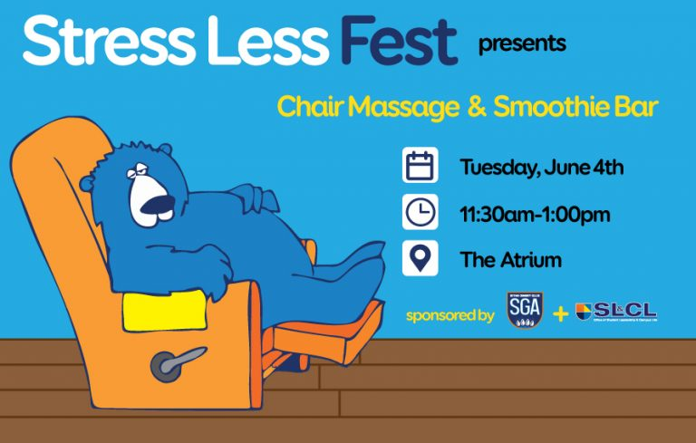 Chair massage and smoothie bar - Stress Less Fest on Jne 4th at 11:30 am in the Atrium