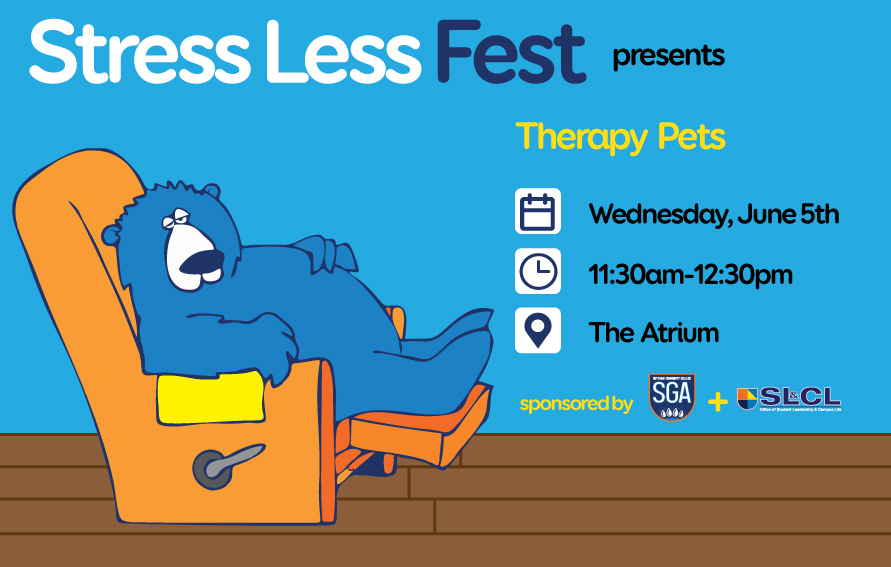 Therpay Pets - Stress Less Fest on June 5th at 11:30 am in the Atrium