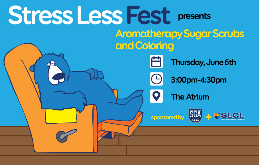 Aromatherapy Sugar Scrubs and Coloring - Stress Less fest on June 6th at 3 pm in the Atrium