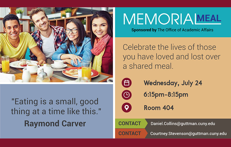 Flyer for Memorial Meal July 2019 featuring a group of young people at a table.