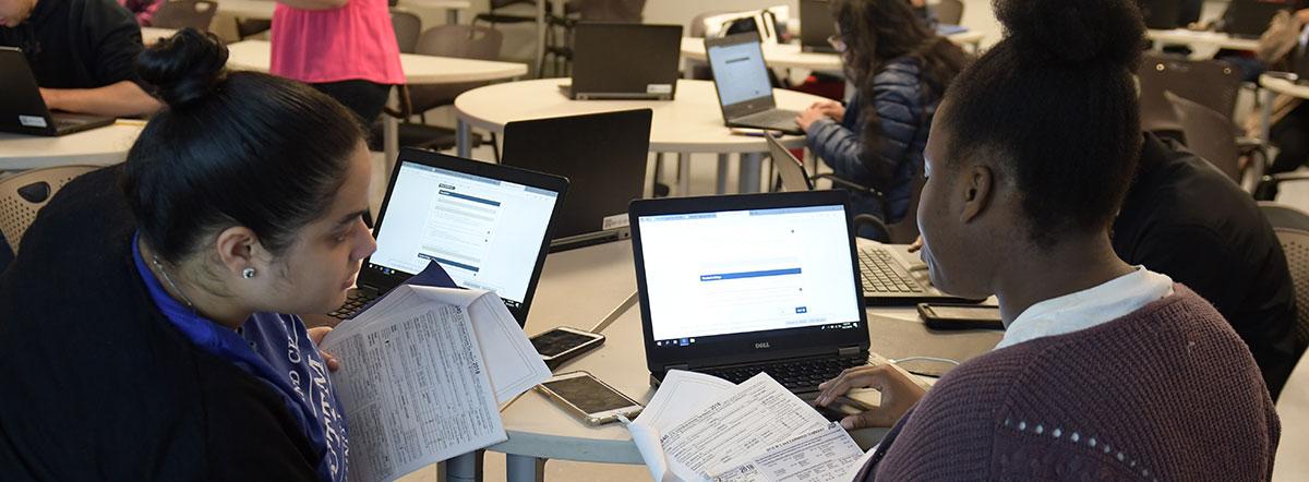 Students studying using laptops