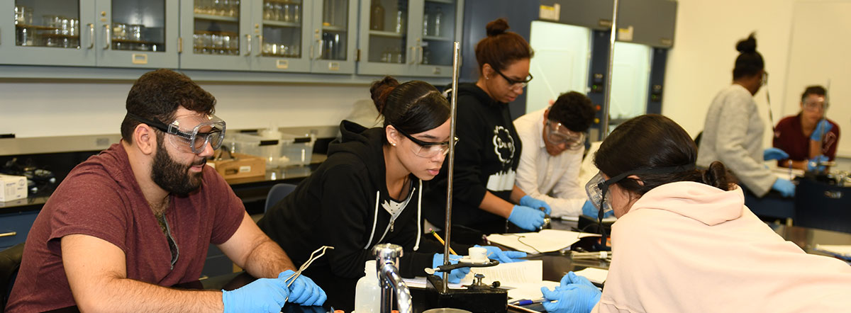 Students learning in a chemistry lab