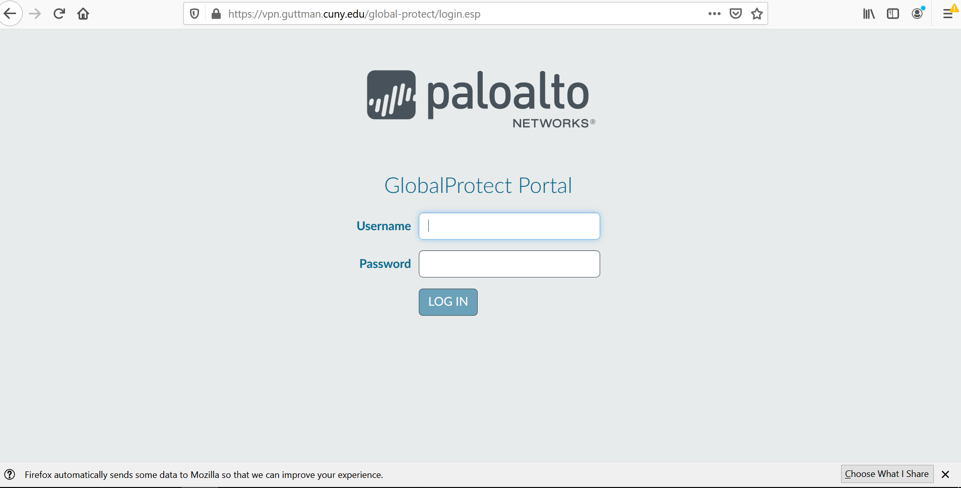 GlobalProtect Portal login screen