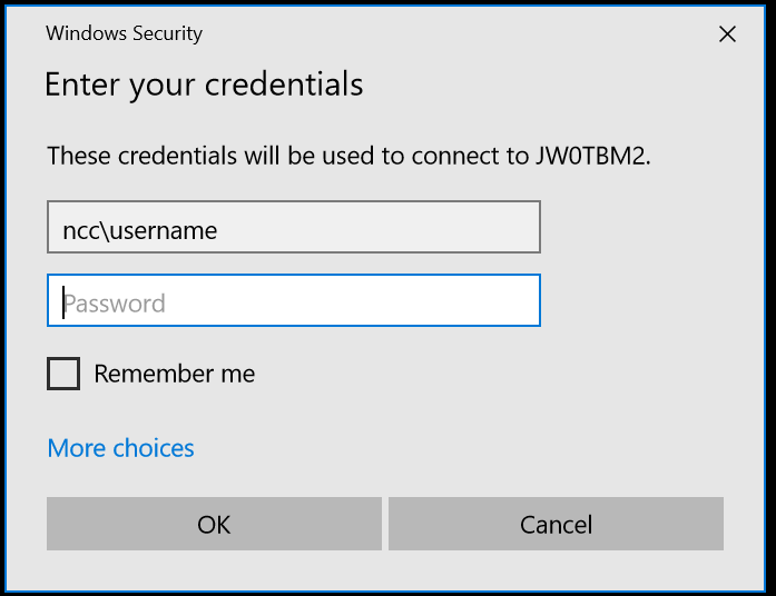 Enter Your Credntials screen - type in ncc\your username, then password