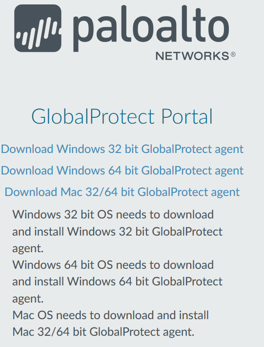 VPN software download options screen for Windows or Mac