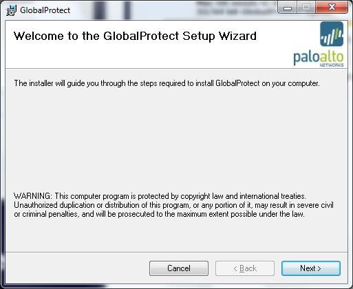GlobalProtecxt Setup Wizard installation guide screen