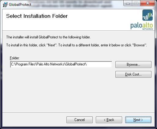 Select Installation Folder Screen