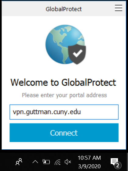 Welcome to GlobalProtect portal address screen
