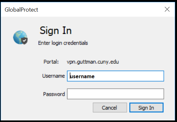 GlobalProtect Sign In credentials screen
