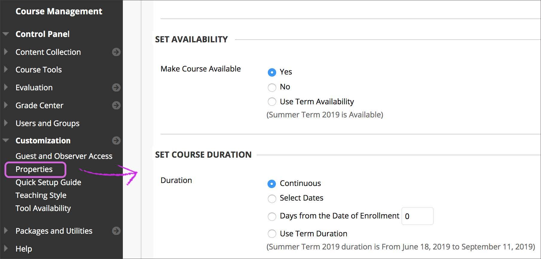 Course availability selection screen