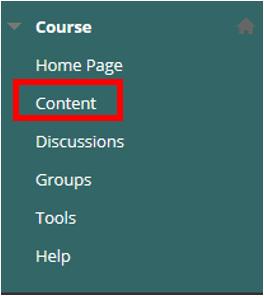 Content option in Course menu