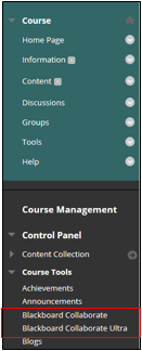 Blackboard Collaborate option under Course Tools in Course Management menu
