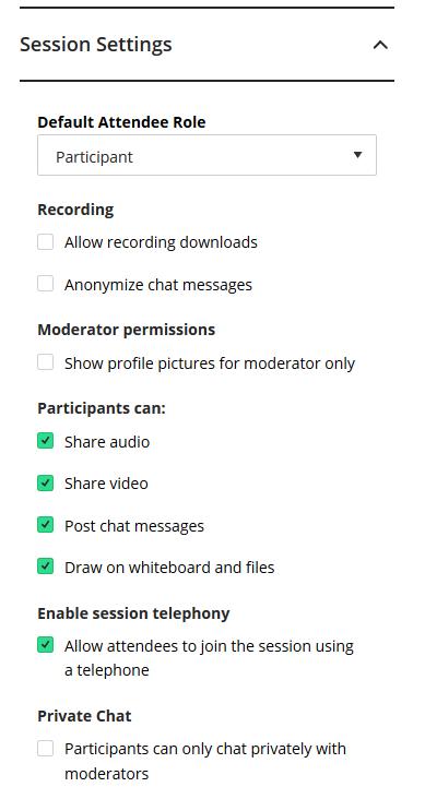Sessions settings screen