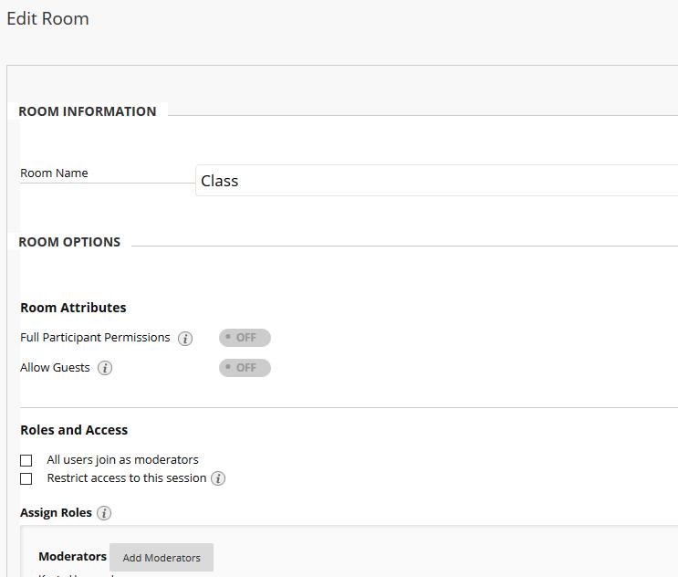 Edit Room options screen