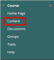 Content button under Course menu
