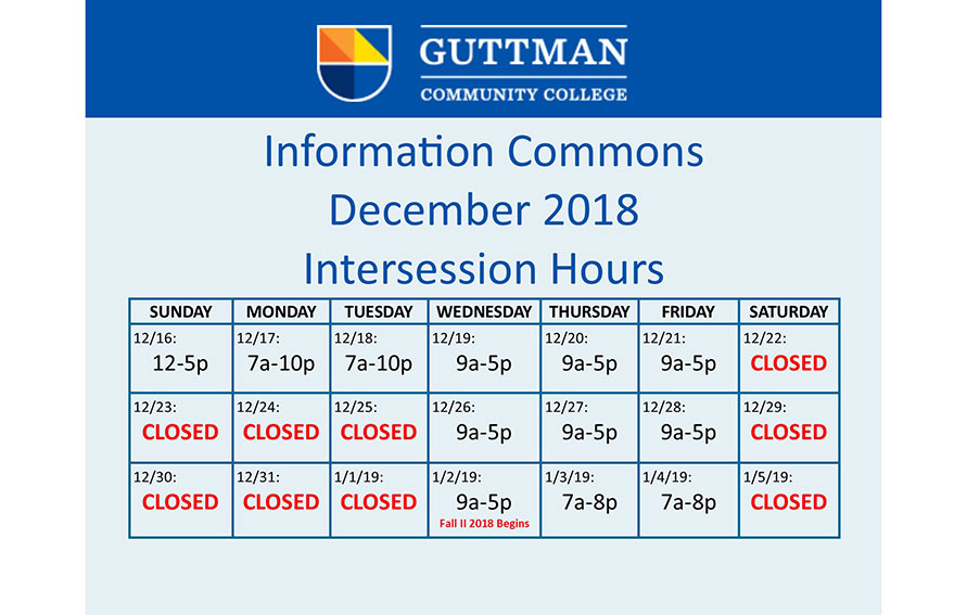 Intersession Modified Info Commons Hours
