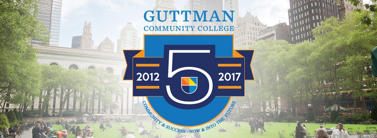 Landscape of Bryant Park with Guttman 5 year anniversary logo superimposed