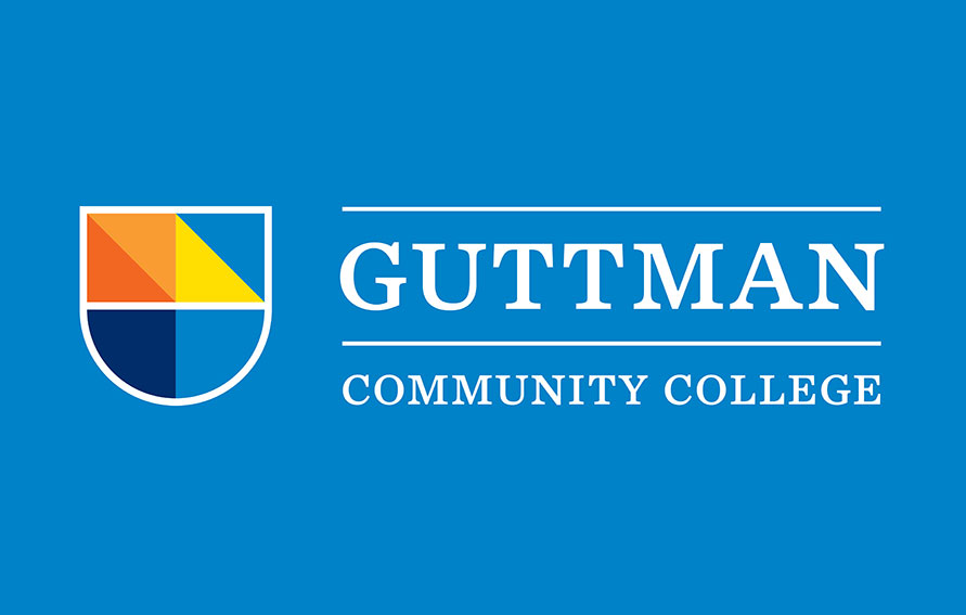 Guttman Community College logo on a blue background