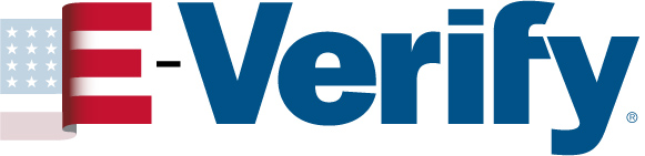 E-Verify logo, with link to the USCIS.gov E-Verify page, which opens in a new tab