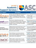 Fall 2020 Academic Support Services