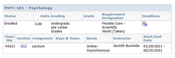 Asynchornous courses screenshot