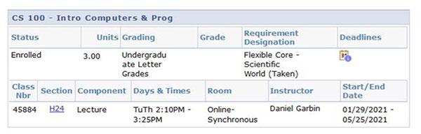 Synchornous courses screenshot