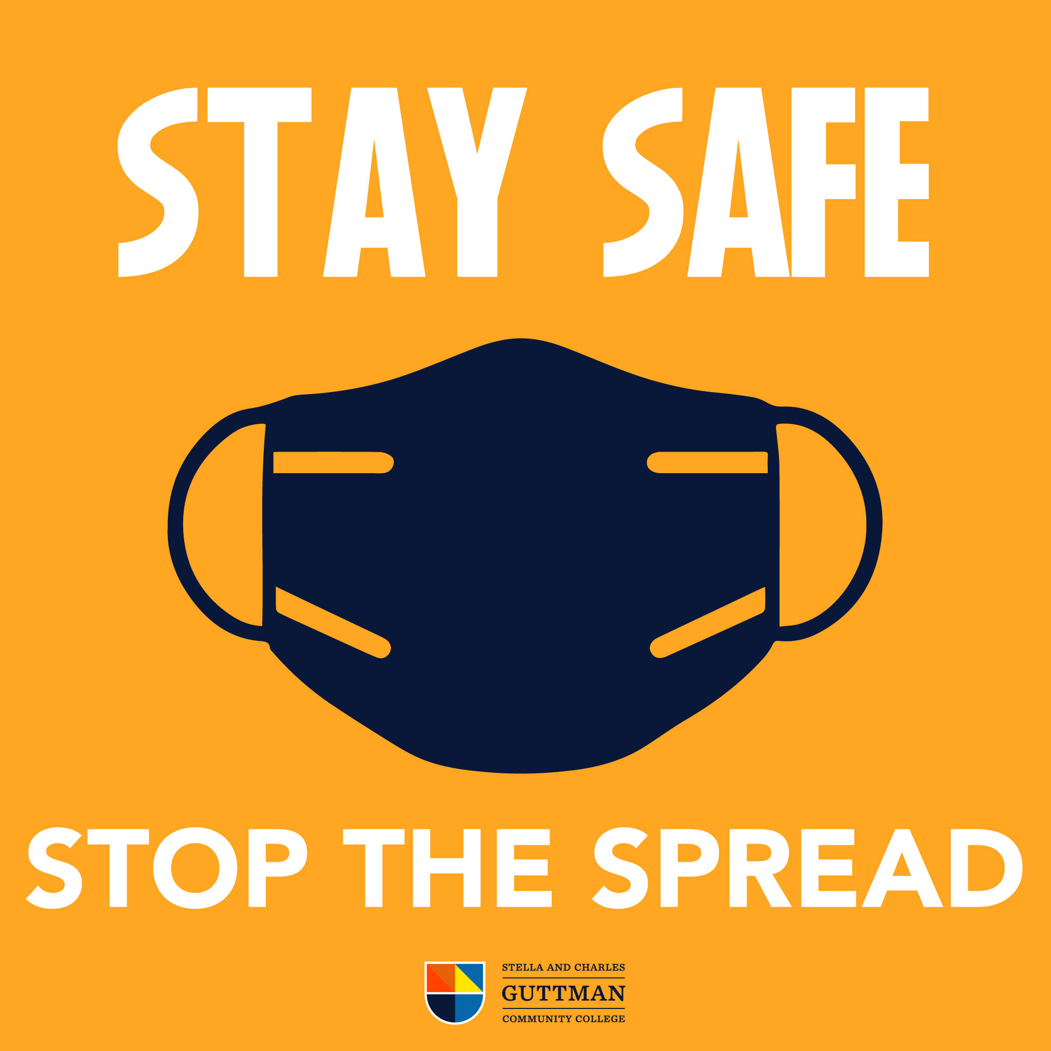 Stay safe, stop the spread - image of a face mask