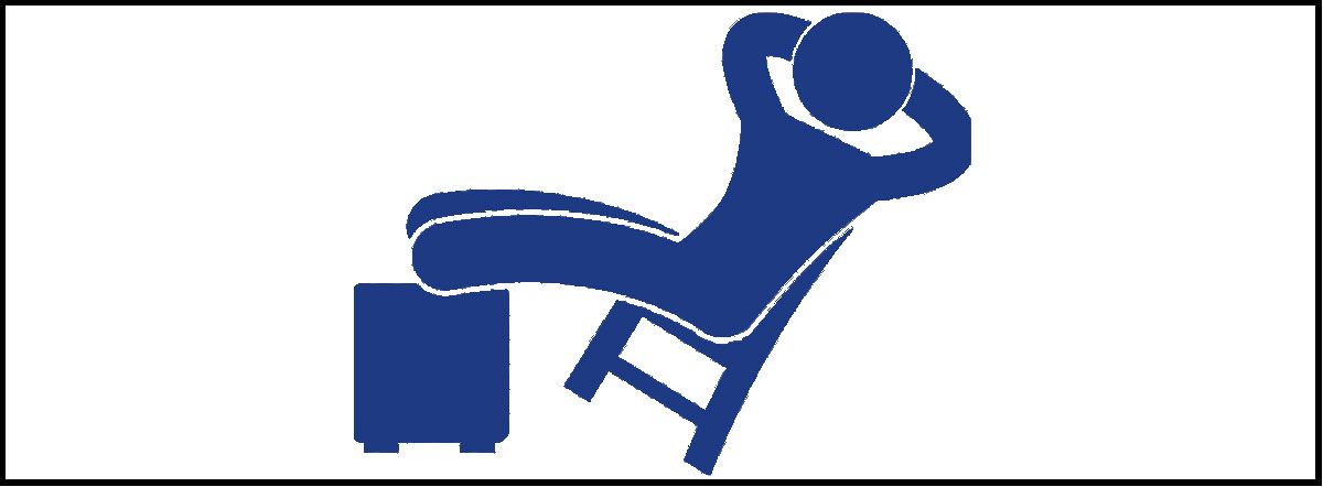 Person sitting back in a chair