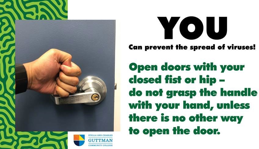 Open doors with a closed fist, do not grab the handle with your hand.