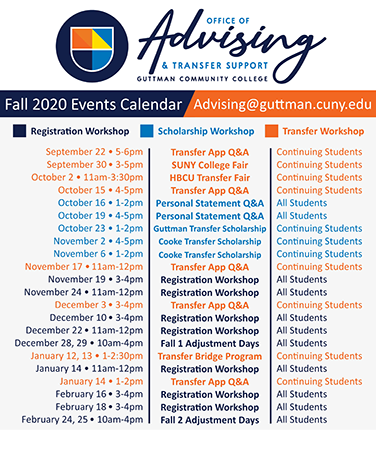 Fall 2020 events calendar