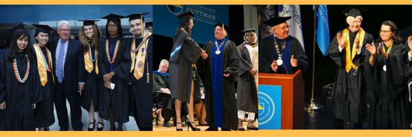 Composite banner featuring photos of President Evenbeck and students