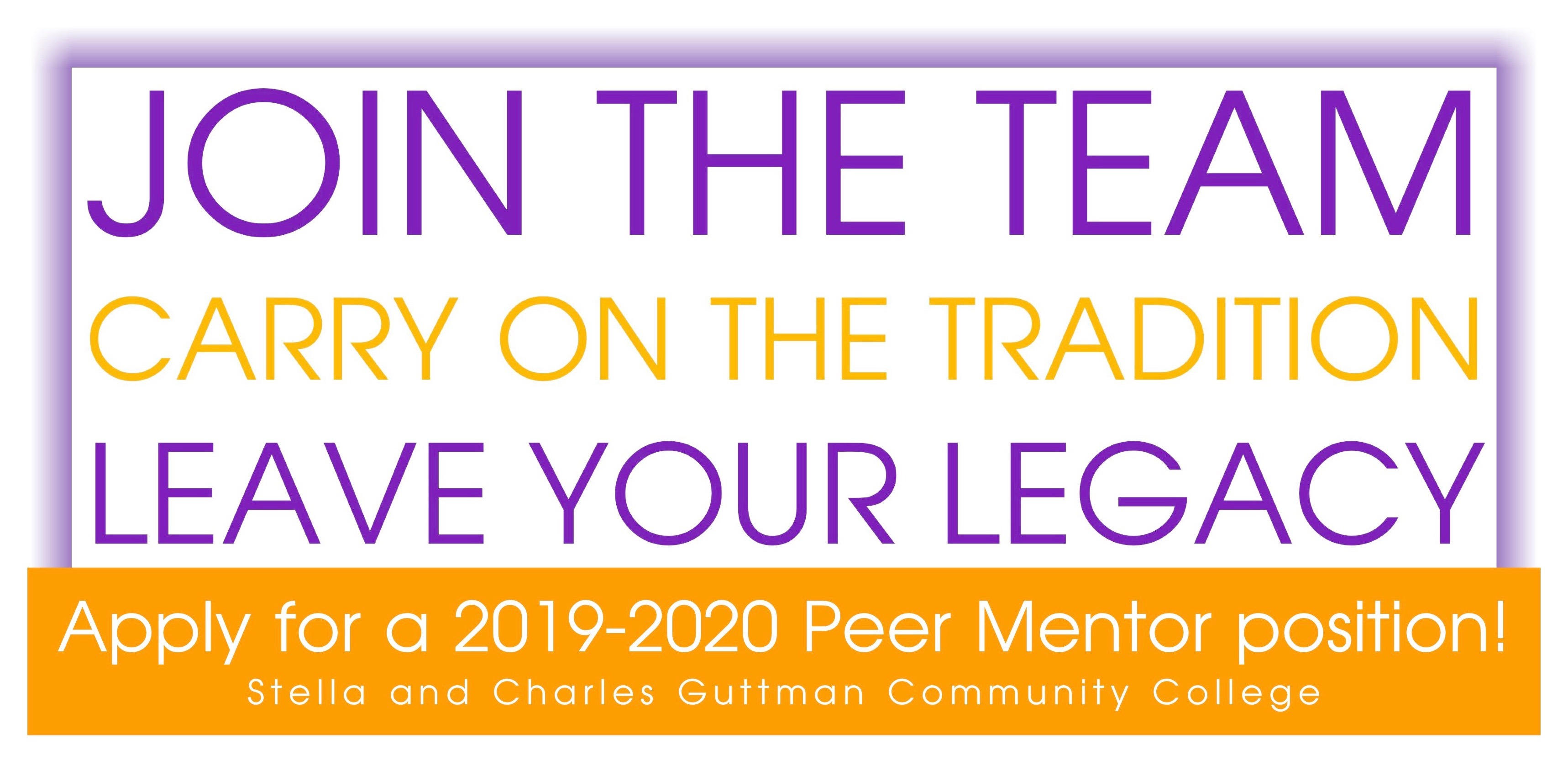 Banner: join the team, apply for a 2019-2020 Peer Mentor position