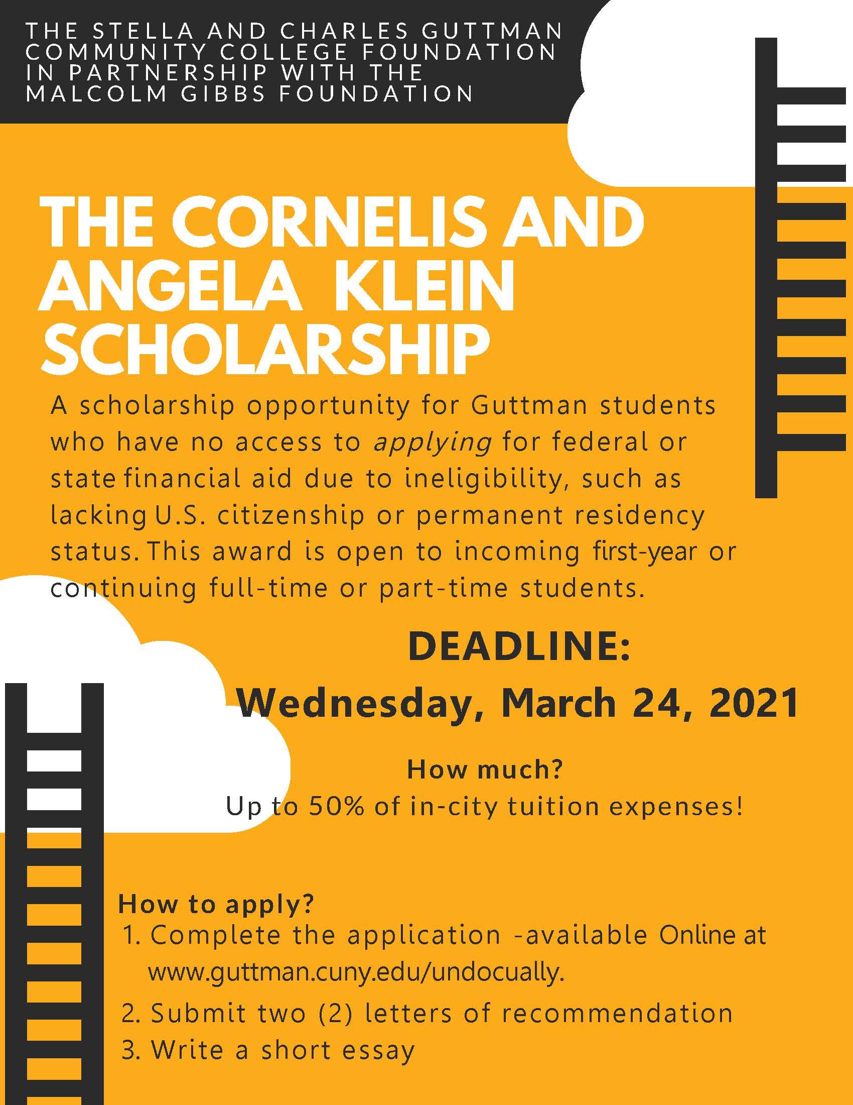 Cornelis and Angela Klein Scholarship flyer